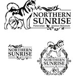 """Логотип в трёх вариантах компоновки для питомника померанских шпицев и маламутов  """"Northern sunrise""""."""
