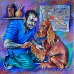 Портрет замечательного ветеринара Григория. Эта работа была выполнена по заказу благодарных владельцев пациента, которого доктор спас. Вот как раз этому пациенту врач жмёт на картинке лапу.