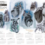 """Настенный календарь для питомника """"Фокс Сан"""". Для календаря я специально выполнила несколько рисунков собак по фотографиям. Формат А3."""