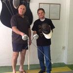 El Maestro Cañadillas junto al Garrotero Héctor Ramos en su visita a la SAGr