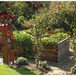 Hochbeete in einem privaten Nutzgarten