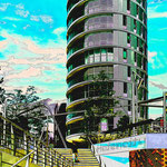 Tower Hafencity, 3x4 m auf Dibond Auftrag Hamburger Architekten