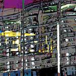 Spiegelung in der Hafencity, 100x150 cm Malerei auf Canvas