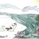 Der Beutelhund würde gerne mitmachen. Doch er kann nicht schwimmen und schaut dem Treiben der Anderen interessiert zu. Er ist einfach froh am Wasser zu sein.
