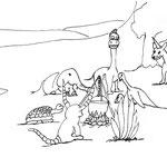 """Samstag, 11. April 2020, Und die anderen treffen sich alle zum Osterfeuer und lecker Essen. Selbst der scheue Yenosaurolapus hat sich dazu gesellt. """"Morgen ist Ostern. Wollen wir morgen alle mit dem nötigen Abstand spazieren gehen und Ostereeier sammeln?"""