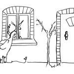 """Donnerstag, 26. März 2020, Noch immer sitzt Yenosaurolapus auf der Fensterbank und starrt fasziniert nach draußen. """"Wer kommt da auf mein Haus zu? Bekomme ich Besuch?"""" Er hört garnicht das heftige Klopfen vom kleinen Elefanten, bis dieser anfängt laut ..."""