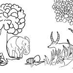 """Sonntag, 12. April 2020, Yenosaurolapus läuft ein bisher vorweg und schaut scheu hinter dem Baum hervor. Der kleine Elefant trabt hinterher. """"Ich rieche Ostereier, hier müssen welche sein! Was wohl Johnny macht? Habe ich ihn wirklich so weit geschleudert?"""