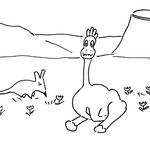 Mittwoch, 15. April 2020, Der Dino war von der Rettungsaktion im See immer noch völlig neben der Spur. Er hatte einfach keine Lust, Ostererier suchen zu gehen, sondern blieb faul im Gras liegen. Da kommt ein kleines ihm bisher unbekanntes Wesen, ......