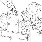 """Mittwoch, der 29. April 2020, Und Hof vom Turm mit dem Teleskop haben sich der kleine Elefant,  Yenosaurolapus, die Schildkröte und auch das aufgeregte Huhn, was bsiher noch nicht seinen Namen verraten hat, getroffen. """"Was machen wir jetzt? ...."""""""