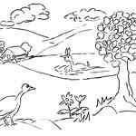 """Dienstag, der 12. Mai 2020,  Im See badet ganz alleine das Einhorn. Der Laufvogel hat sich von seine Strapazen mittlerweile erholt und hofft, dass der kleine Elefant und  Yenosaurolapus kommen. """"Oh dann gehen wir wieder ins ECK! Das wäre super!"""""""