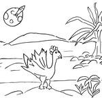 Sonntag, 19. April 2020, Mittlerweile haben sich der kleine Elefant, Yenosaurolapus und der Laufvogel auf den Weg nahe an dem Fluß gemacht. Und noch keiner hat den Mond mit der Rakete entdeckt. Oder etwa doch schon?