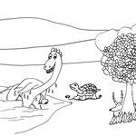 """Donnerstag, 09. April 2020, """"Gerettet, das hat wohl in der aller letzten Minute geklappt. Hätte auch der kleine Elefant wirklich machen können, aber der Unglücksrabe hat Johnny ja fast verschluckt. """" Und wer schaut da schüchtern hinter dem Baum hervor ..."""
