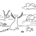 """Sonntag, der 07.Juni 2020, Yenosaurolapus ist zum Strand gerast und sitzt jetzt ganz erschöpft da.  """"Im ECK wird gestrichen! Ich glaube, nächsten Mittwoch ist wieder geöffnet!""""  Und damit endet diese Geschichte erstmal."""