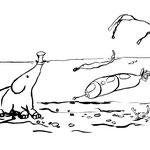 """Freitag, 03. April 2020, """"Ich sollte vorsichtshalber ein Tauchmanöver vollziehen!"""" Und so taucht der kleine Elefant in eine Unterwasserwelt ab. Vor seinen Augen sieht er ein kleines Unterwasserraumschiff, das argwöhnisch von einem Krosch und einer....."""