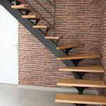 CMC Métallerie Avranches(50)-Escalier métallique avec marches en chêne