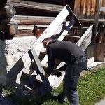 Demontage durch PKW beschädigtes Geländer Mesmerstall