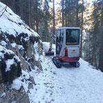 Winterwanderweg Stubenbach vorbereiten für Raupengeräte