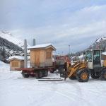 Weihnachtsmarkt Lech, Hütten holen vom Skatepark