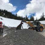 Schottersieben für Bauweg Baustelle Waldbad Lech