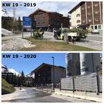 Baustelle GZL, erste Vorbereitungsarbeiten 2019, Demontage Bushaltestelle