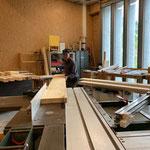 Vorbereitungsarbeiten für Wegebau in der Tischlerei