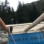 Montage Bauhof-Flugdach-Aufteilen der Rofen
