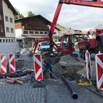 Telekom-Grabungsarbeiten GZL, Kabelsand einschwemmen