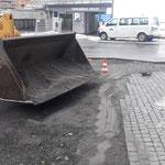 Vorbereitungsarbeiten für Asphaltierung Baustelle Gemeindezentrum