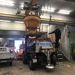 Salz laden auf Unimog 1600, ÖBB-Baustelle Spullersee