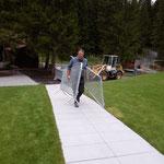 Absperrgitter stellen Sportbecken Waldbad