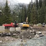 Waldbad Lech - Neubau Kinderbecken: Vorbereitungsarbeiten für Brückenfundamente