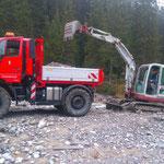 Neubau vordee Butzenbrücke: Schotter führen für neuen Weg