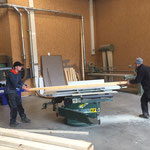 Wiesele-Brücke Wiederaufbau - Holz richten