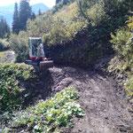 Gaisbachtobel räumen für Viehtrieb Alpe Wöster, mit TB 216