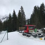 Nachsaison-Loipenpräparierung mit PB 100 für treue Mitarbeiter und Einheimische, Schmelzhof-Älpele.