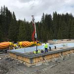 Betonierarbeiten am Aquafit-Becken