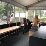 Philosophicum: Materialtransporte Gemeindeamt - Zelt