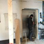 Provisorischen Rahmen bauen, neuer Lift Feuerwehrhaus