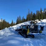 Lintrac Loipenspurgerät mit Müller Fahrzeugtechnik, Testgelände Langlaufloipe Lawine Chalberläger
