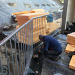 Blitzableiter montieren, GZL-Container Trafostation Angergarage