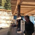Bauhof Flugdach Rückwand montieren