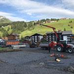 Baustahlmatten abladen am Schlosskopf...