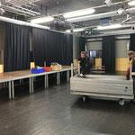 Bühnenbau Postgarage für Musikschule Lech, stellen der Elemente