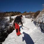 Schneeräumung für Aufbringung Feinplanie