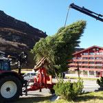 Stellen des Christbaum Kreisverkehr Zürs, mit Hilfe Transporte Elsensohn-Kran