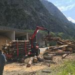 Holz abladen für Heizwerk Zug