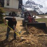 Restliche Wege-Hackschnitzel beim Goldenen Berg entfernen. Mit Unterstützung unseres Konrads