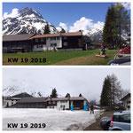 Schneevergleich 2018 - 2019, jeweils Kalenderwoche 19