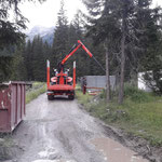 Aufräumarbeiten im Waldbad, mit Steyr 6190 CVT