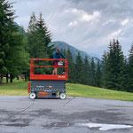Scherensteigertransportfahrt für Montagearbeiten Schlauchturm